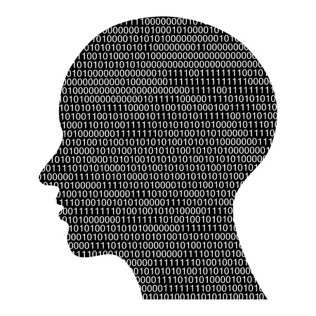 personality: head silhouette with binary code, high tech vector illustration