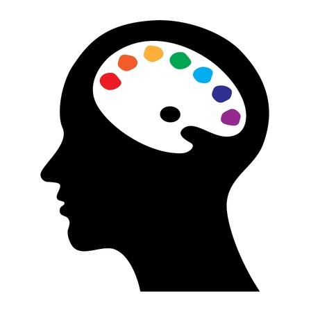 cerebro blanco y negro: la cabeza con el cerebro como la paleta, concepto creativo, arte, ilustración vectorial
