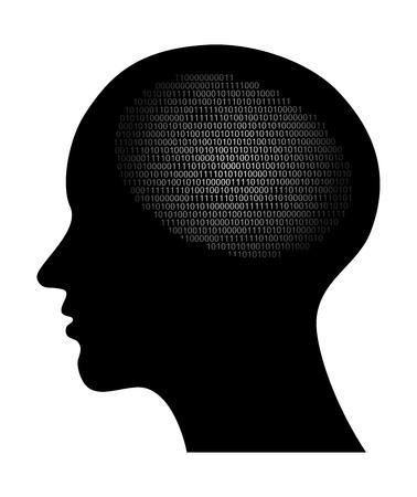 personalit�: astratto illustrazione vettoriale ad alta tecnologia con il codice binario
