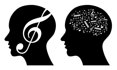 music abstract illustration, profile with musical notes, composer, musician, vocalist, notes, dj  Vector