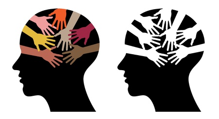 black head profiles with helping hands, abstract illustrations Vector