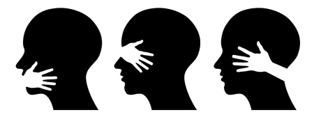 set silhouettes of heads,  concept for medical  or health design Vector