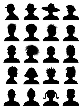 head and shoulder: 20 Anonymous Mugshots, abstract illustration Illustration
