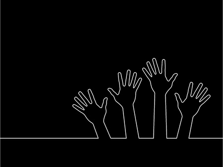 line of hands, abstract illustration for design.