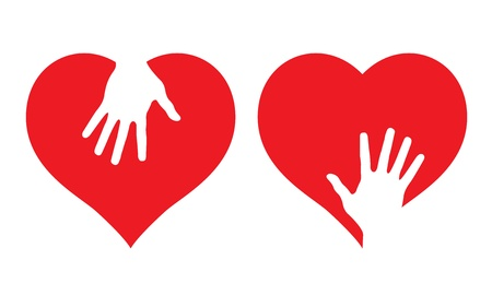 mixed family: Hearts with helping hands, abstract illustrations