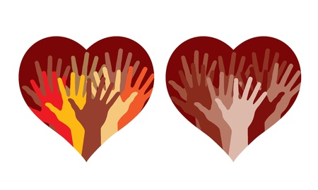 mixed family: Hearts with many helping hands, abstract illustrations