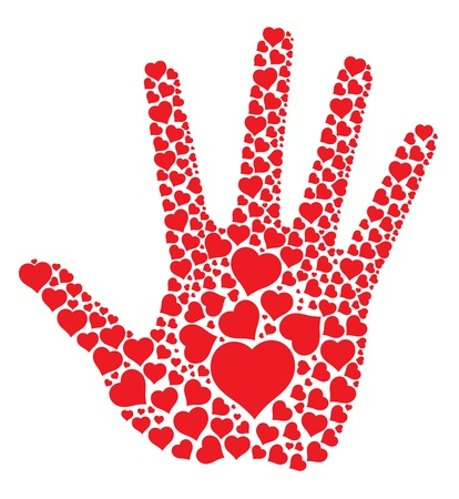 many hands:  Hand print with hearts, abstract vector illustration