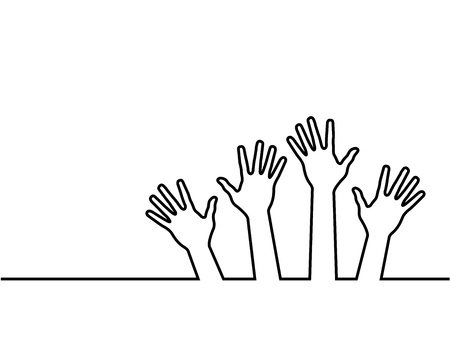 volunteering: black line of hands, abstract vector illustration for design.