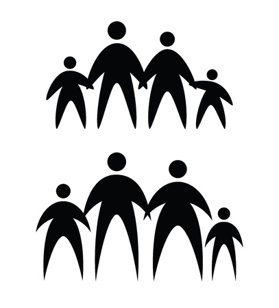 abstract family: family icons, abstract vector illustration