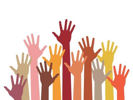 verkiezingen: opgeheven handen, abstracte vector illustratie