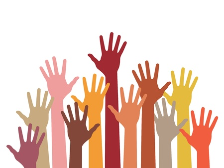 charity collection: raised hands, abstract vector illustration Illustration