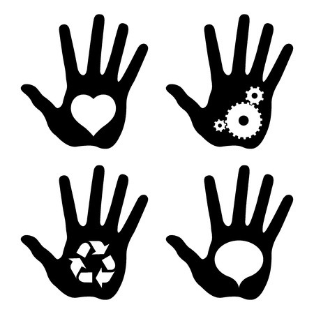 hands solution: black hand prints with idea symbols, vector illustrations