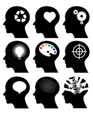 inteligencia: los iconos de la cabeza con los s�mbolos de ideas, ilustraciones vectoriales Vectores