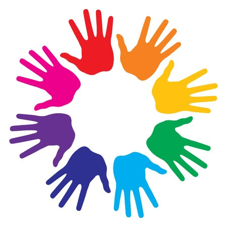 solidaridad: Impresiones de la mano, ilustraci�n vectorial abstracto