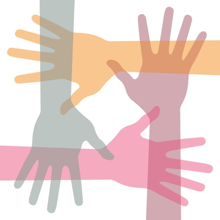 United hands, abstract vector illustration Vector