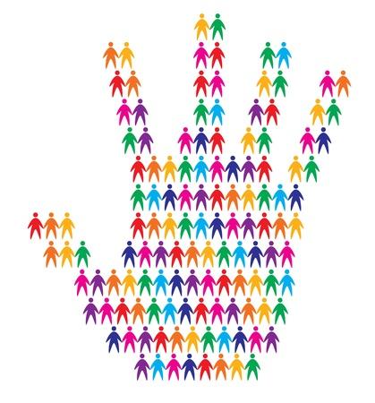 solidaridad: la mano con el fondo de la gente, ilustraci�n vectorial abstracto