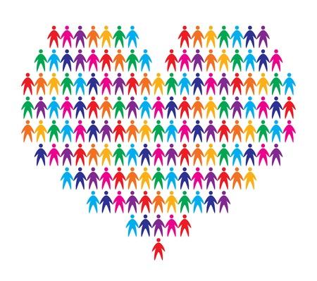 amistad: el coraz�n con el fondo de la gente, ilustraci�n vectorial abstracto