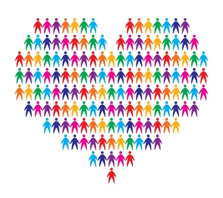 charitable: heart with people background, abstract vector illustration