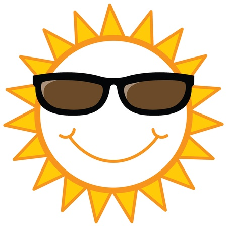 sunglass: smiley sun with sunglasses, vector illustration