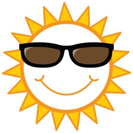 带墨镜的笑脸太阳,矢量图