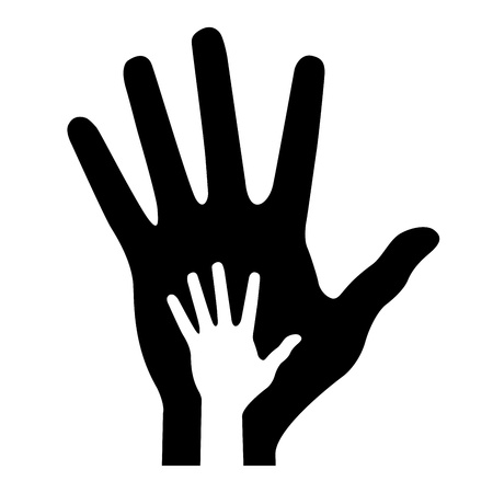 parent hand with baby hand, vector illustration Vector