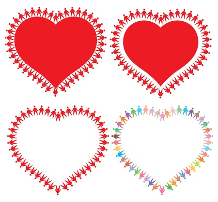 icons of people around the heart, abstract vector illustration Vector