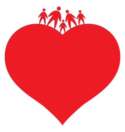 hands holding heart: icon of family, abstract vector illustration