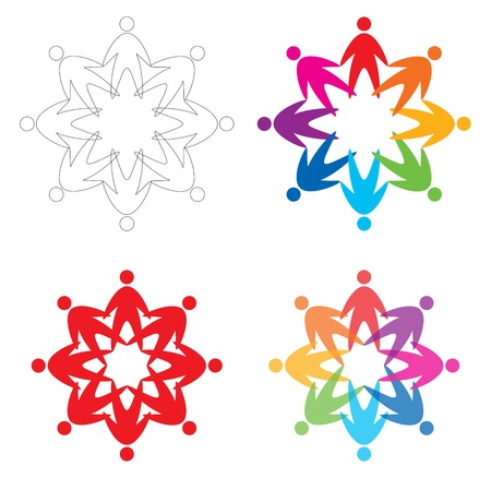 charity work: set of people  icons, abstract vector illustration