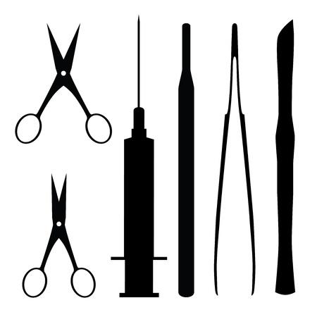 chirurgo: strumenti medici, illustrazione vettoriale astratto