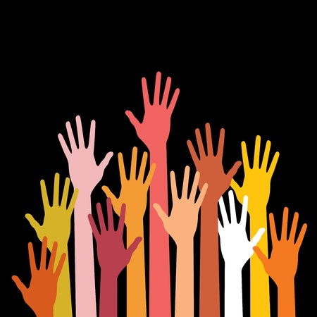 raised hand: colorful up hands Illustration