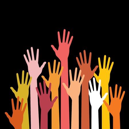 colorful up hands Illustration