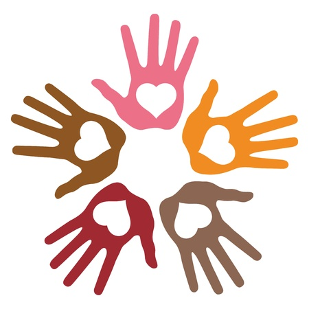 Circle of 5 loving hand prints Vector