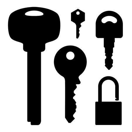 Stock Illustration  set of keys lock Vector