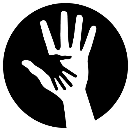 Caring hands icon Illustration