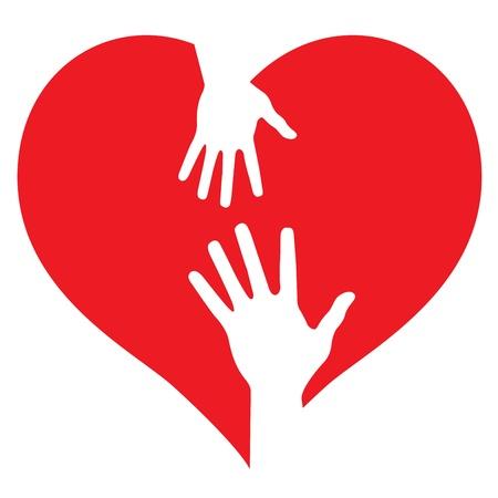 equipe medica: Mani genitore e bambino sul cuore Vettoriali