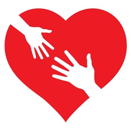 S Child mano y la mano en el corazón de adultos Ilustración de vector