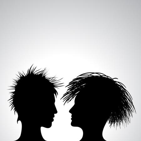 taglio capelli: uomo e donna profili, illustrazione astratta
