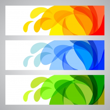 Summer and Spring Banners, abstract  illustrations  Vector