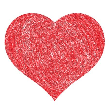 disegnati a mano cuore, illustrazione per la progettazione