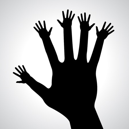 caring hands: Zorgzame handen, abstracte illustratie voor het ontwerp