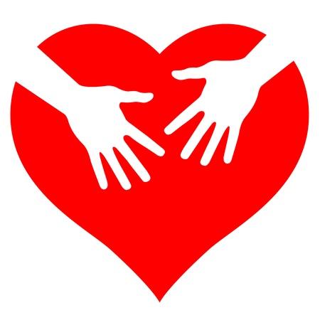 equipe medica: Le mani sul cuore, illustrazione astratta per la progettazione Vettoriali