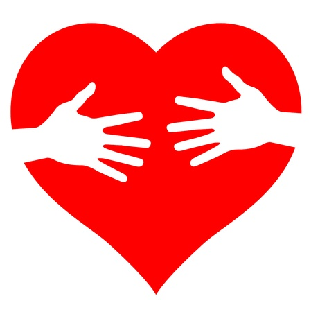cuore nel le mani: Le mani sul cuore, illustrazione astratta per la progettazione Vettoriali