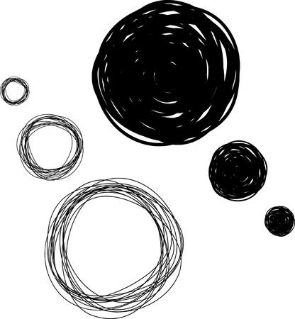 scrawl: disegnata a mano abbozzato bolle pensiero, illustrazione vettoriale astratto