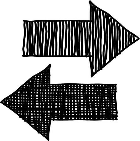 sideways: Hand drawn arrows, sketch  illustration for design Illustration