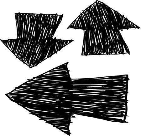 doodled: Hand drawn arrows, sketch  illustration for design Illustration