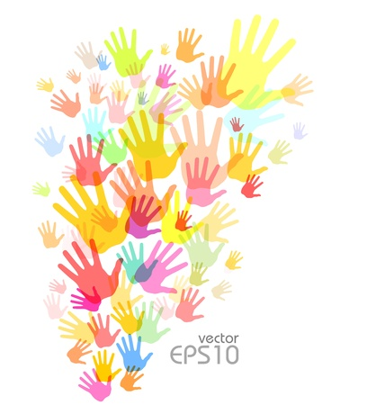 Colorful hand print background