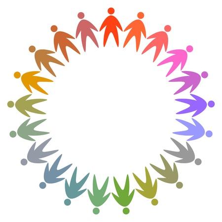 equipe medica: cerchia di persone colorate pittogramma, icona vettore astratto per il design