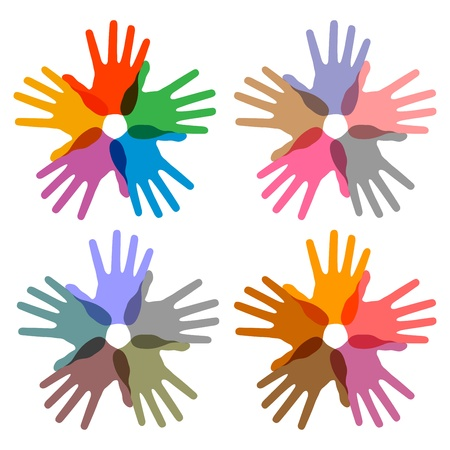 set of colorful hand print icons, abstract vector illustrations Vector