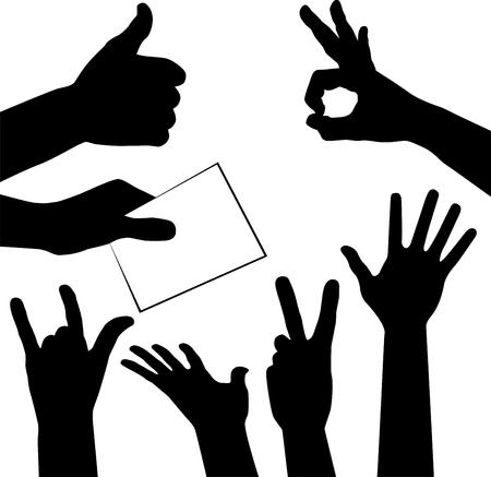 set of hands silhouettes, vector illustration for design Stock Vector - 13717164