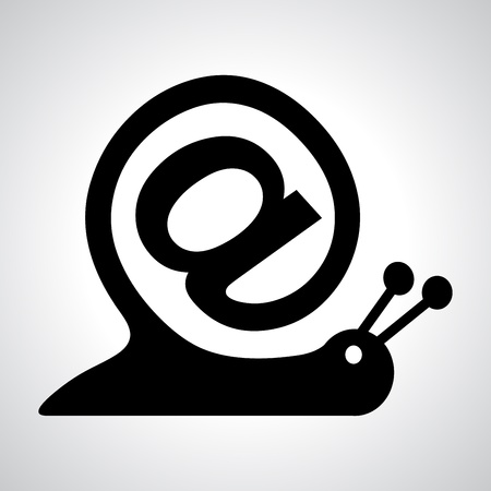 arroba: snail as internet sign and email icon, vector illustration for design